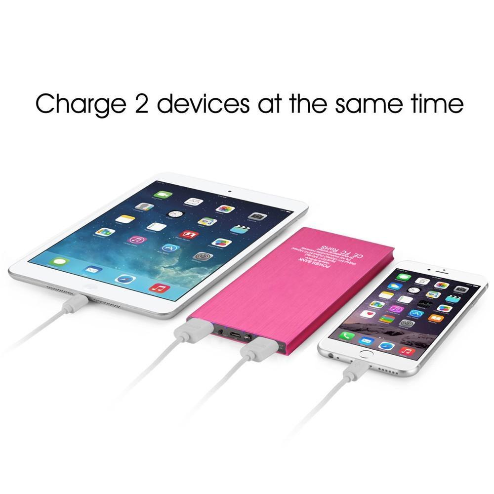 imágenes para Nuevo 2 USB Ultra Delgado 8000 mAh Banco Portable de Batería Externa cargador para el iphone 6/6 S Más 6/6 S 5/5S para el ipad para Samsung