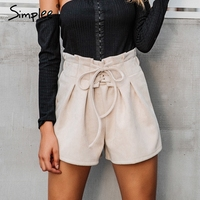 Simplee Lace Up Suede Faux Leather Shorts Women Casual High Waist Shorts Female 2017 Loose Soft