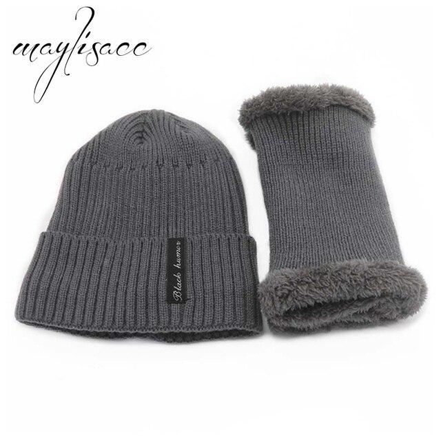 Maylisacc Unisex 2 Pcs Set Solid Colors Winter Warm ... e660b8c45f81