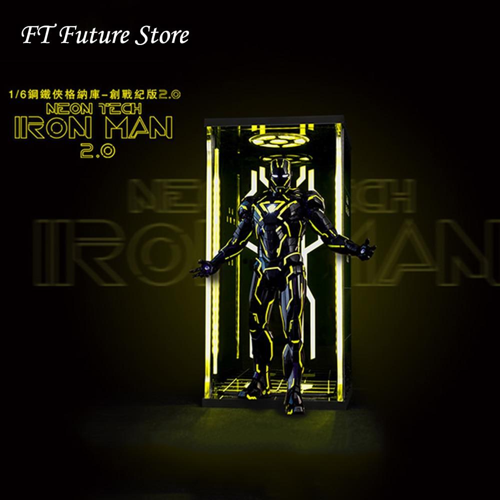 النادرة 1/6 الشكل الاكسسوارات المشهد Comicave صندوق عرض الاكريليك قاعة الحديد رجل Mk6 الحرب مع الأصفر ضوء 2.0-في شخصيات دمى وحركة من الألعاب والهوايات على  مجموعة 1