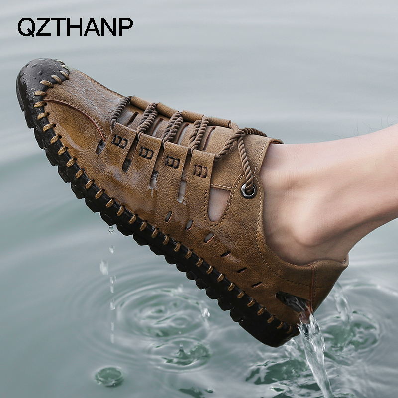 New Krasovki Man Summer Leather Casual Shoes Hot Sale Brand Male Breathable SlipOn Water Shoes Tenis Masculino Adulto Chaussures(China)
