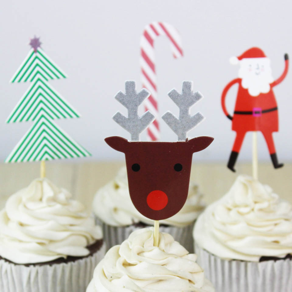 aliexpresscom buy tronzo santa claus cake topper 1024 pcs christmas cake decorations tree frozen snowflake cupcake toppers christmas party favor from - Christmas Cake Decorations