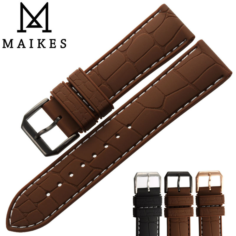 MAIKES New Fashion Watchband Men 20mm 22mm Silicone Rubber Brown Watch Strap Band With Black Pin Buckle For Brand | Watchbands