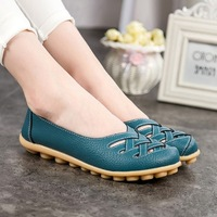 2017 New Female Fashion PU Leather Hollow Out Flats Shoes Women Sandals Summer Shoe