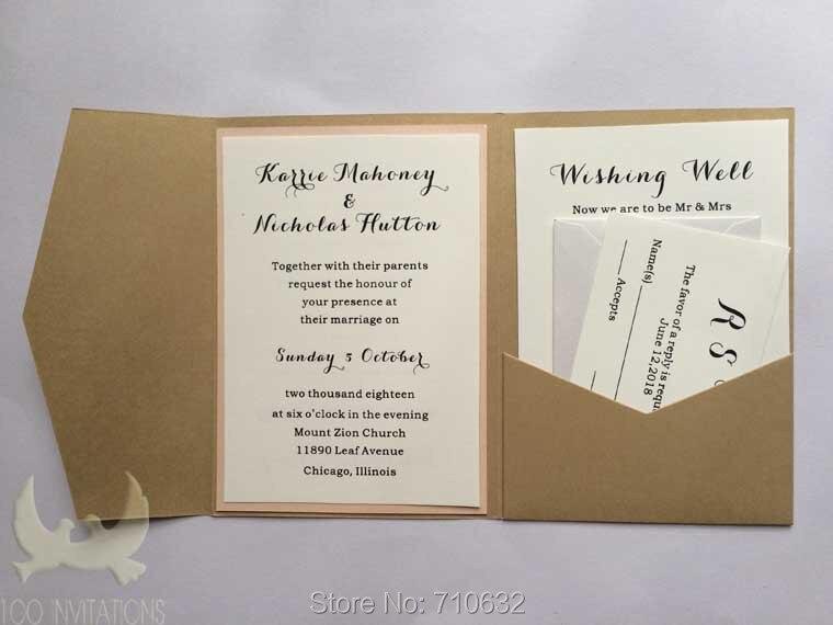 Rustic Kraft Pocketfold Wedding Invitation with R.S.V.P /& Info Card *SAMPLE*