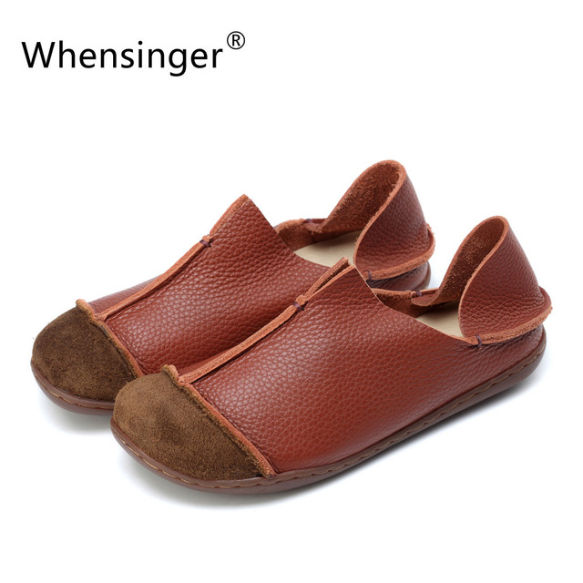 Whensinger - 2017 Women Shoes Summer Spring Genuine Leather Loafers Solid Slip-On Round Toe Handmade Flats 205
