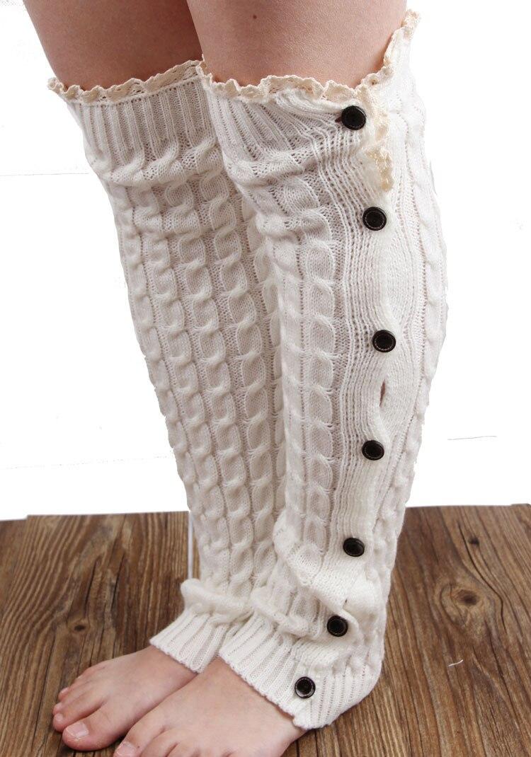 2015 fashion knit crochet leg warmers lace