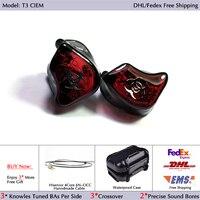 Hisenior T3 3Units Balanced Armature Drivers In Ear Custom Fit CIEM Noise Cancelling Earphone DHL/FEDEX Free Shipping