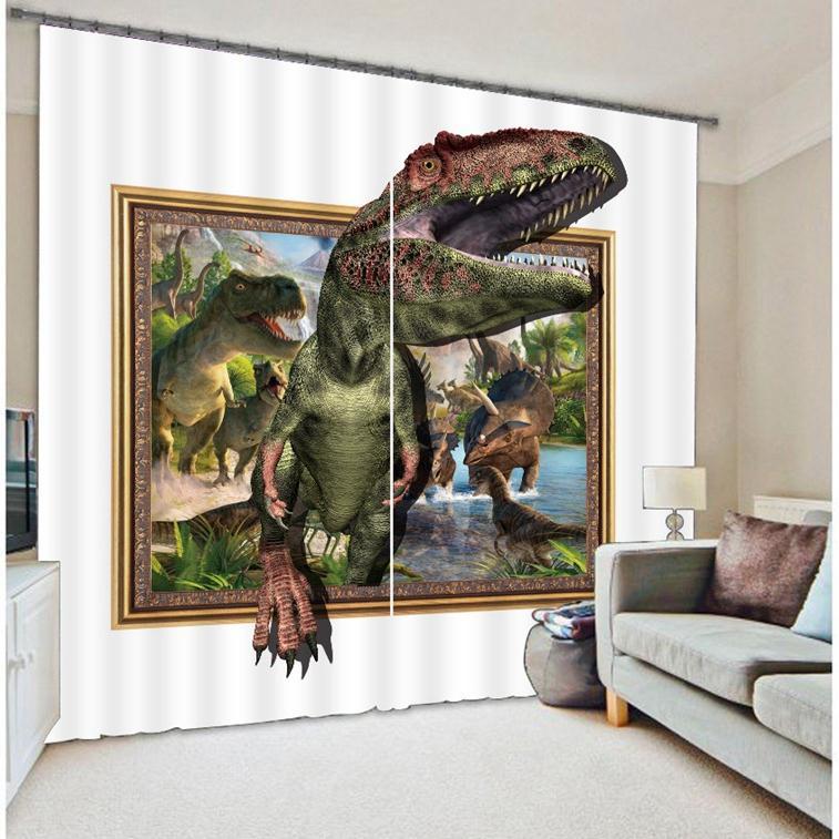 Cortinas 3D impresión dinosaurio Blackout sala de cama sala de estar cortianos cortina de ventana cortinas 3D-in Cortinas from Hogar y Mascotas    1