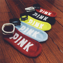 wholesale pink unisex cotton mix random color(not can choose) vs love PINK letters happy ankle socks for football sport