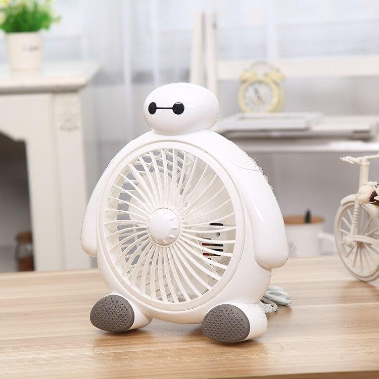 цена 220V Desktop Fan Mini Cute Baymax shape Ventilador Natural wind / Standard Wind Adjustable speed Electric Fan
