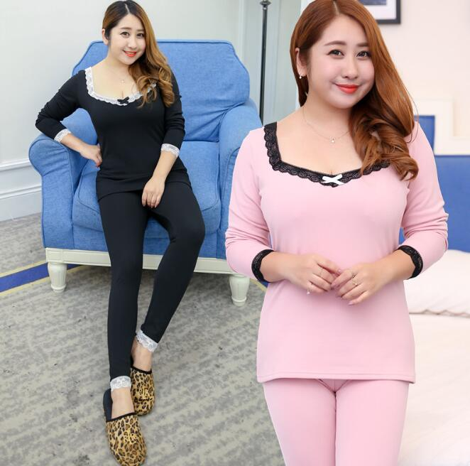 Women's Inner Wear Suit Lady's Slim Elastic Top And Pants Intimates Plus Size XL~4XL Tb063