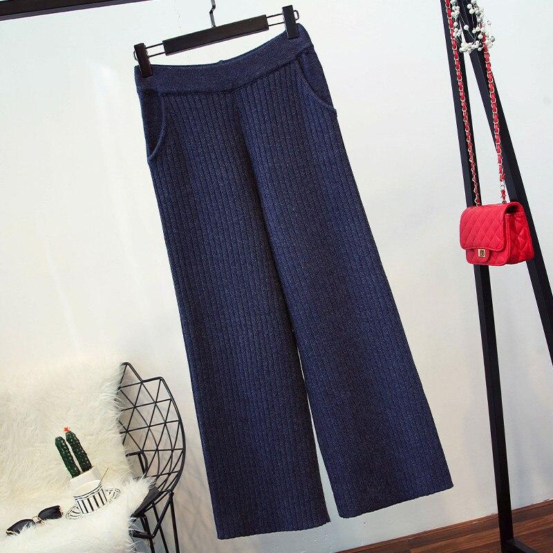Pièces Mode noir De Hauts À Femmes Pantalons Roulé Bleu Lâche Jambe Pull Ensembles Tenues Marine Et Casual Col Deux Large Pantalon Femelle Automne 5YxBx0
