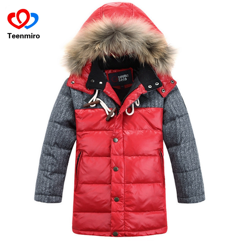 Winter Children Jacket Coat Boys Warm Padded Thicken Hooded With Fur Down Jackets For Boys Teenage Kids Clothes Outerwear