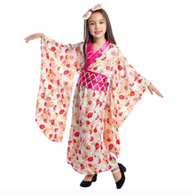 Kids Japanese Kimono Traditional Geisha Cosplay Costume Asian Girls Anime Halloween Party Childrens Clothing