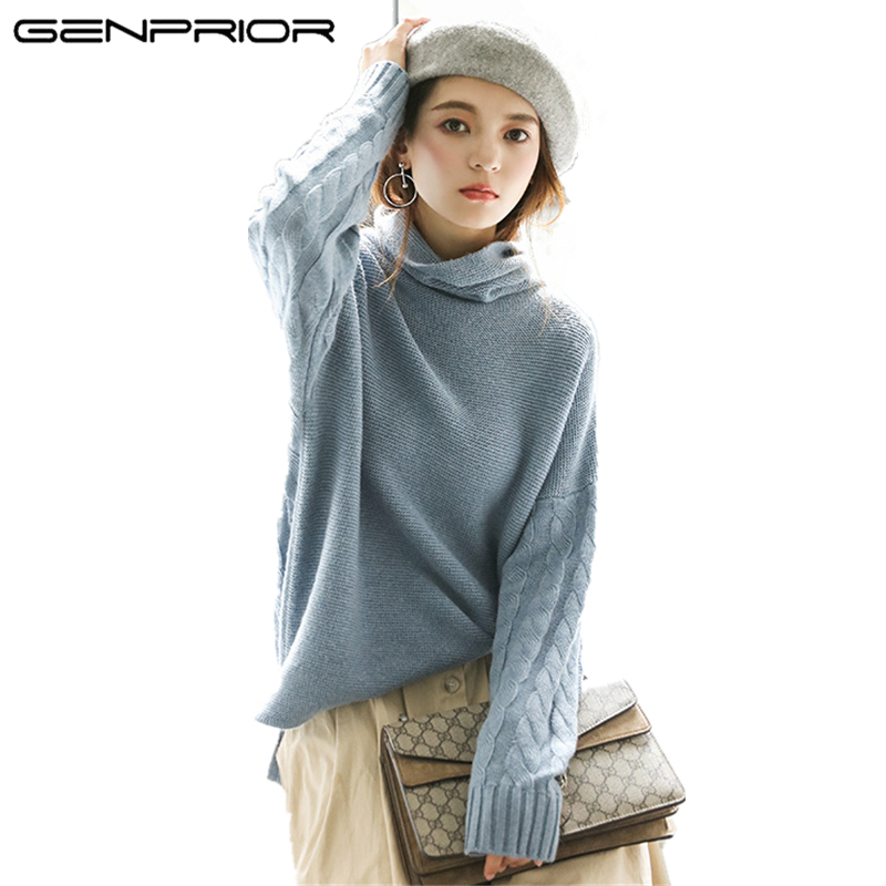 Women's Sweater Turtleneck Casual Jumper Knitted Loose Autumn Winter New Top Solid Fur