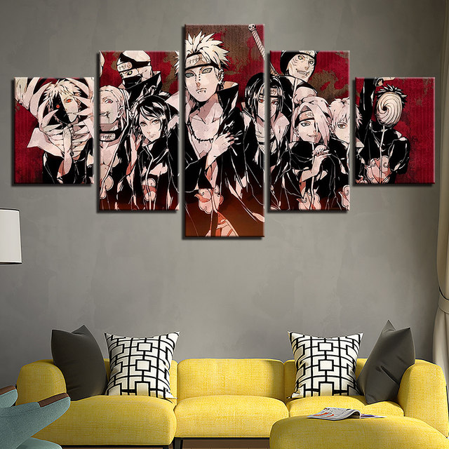Home Decor HD Prints Canvas Pictures 5 Pieces Animation Naruto Characters Paintings