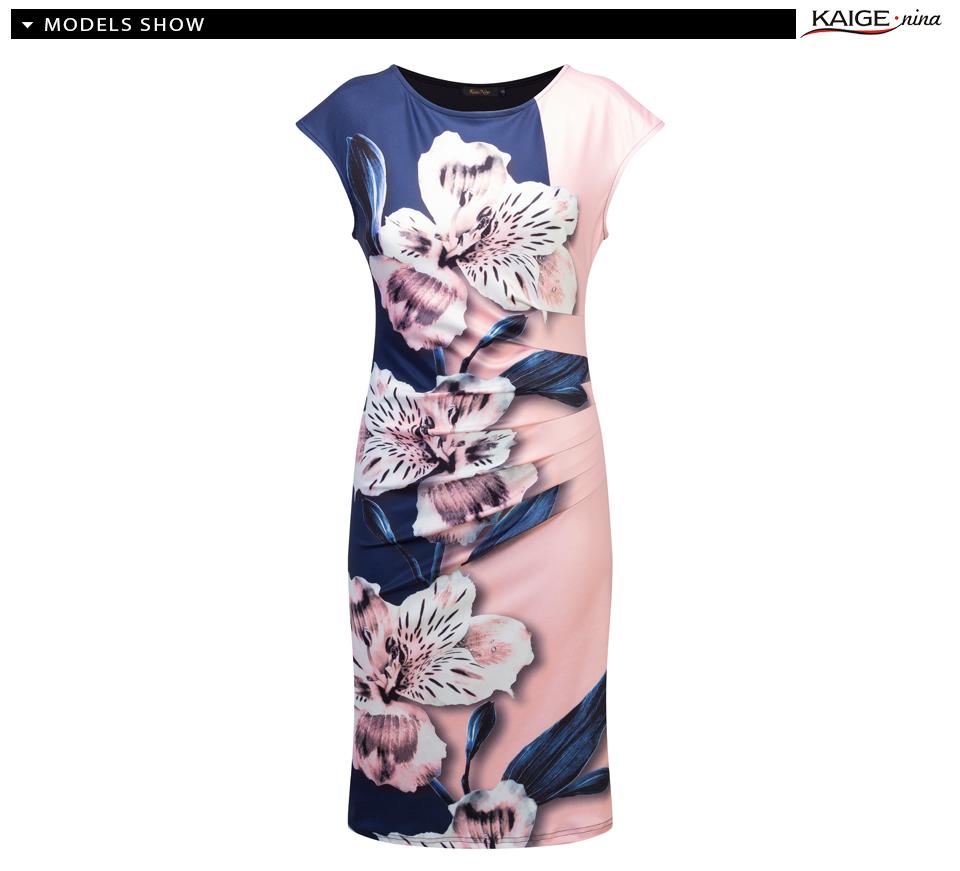 17 Kaige Nina dress Women bodycon dress plus size women clothing chic elegant sexy fashion o-neck print dresses 9026 15