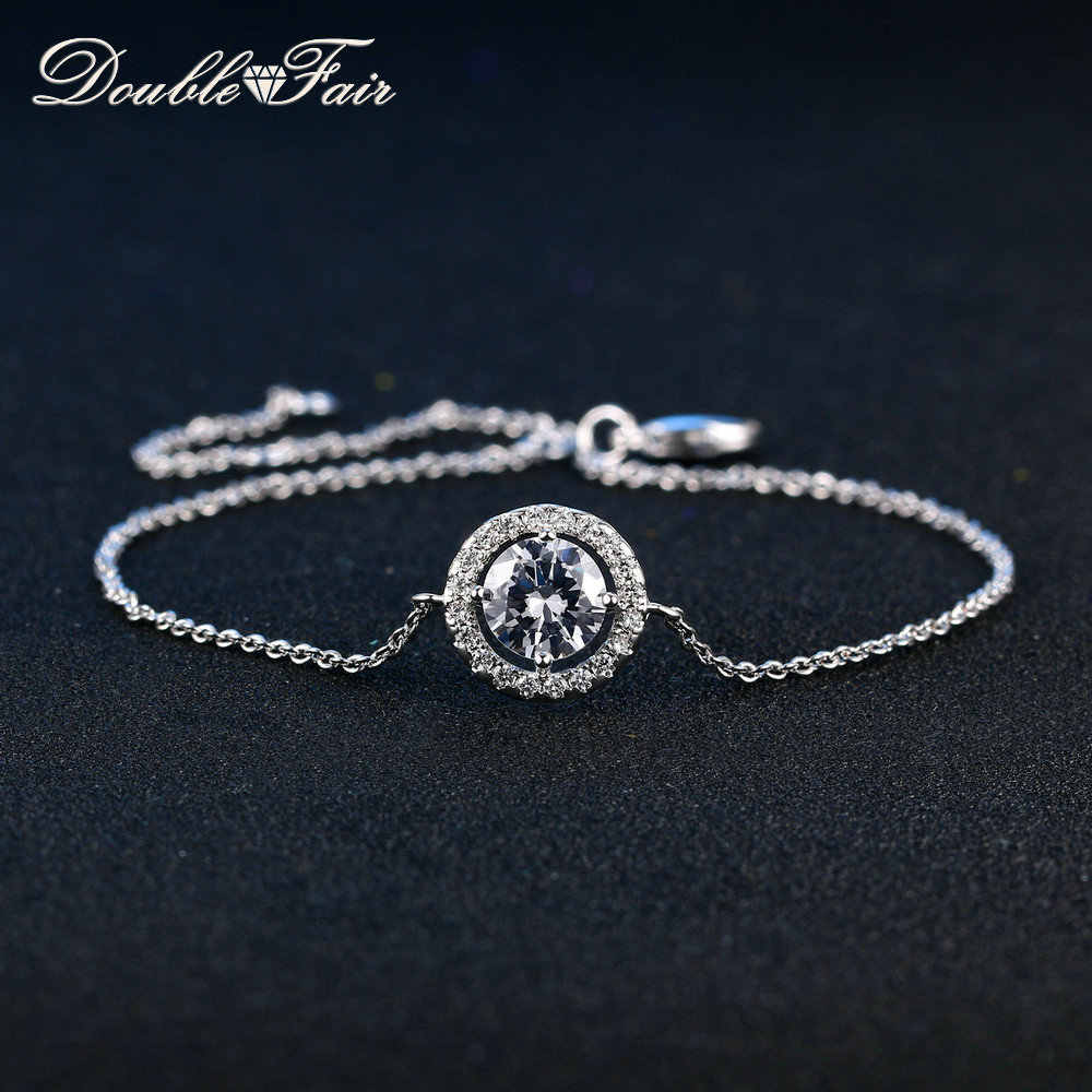 Двойной ярмарка DFH101 AAA круглый камень CZ простой Стиль серебро Цвет  Браслеты и браслеты Модные украшения a7654941d38