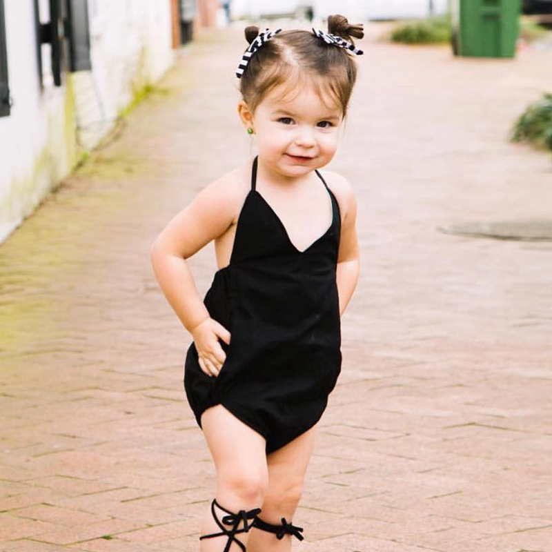 Newborn Baby Bodysuit Summer Baby Black V Neck Backless Jumpsuirt Infant Girls Onesie Playsuit Baby Clothes