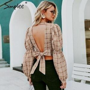 Image 2 - Simplee Vintage ekose gömlek kadın bluz seksi backless lace up kadın üst gömlek sonbahar puf kollu büyük boy bayan bluz gömlek