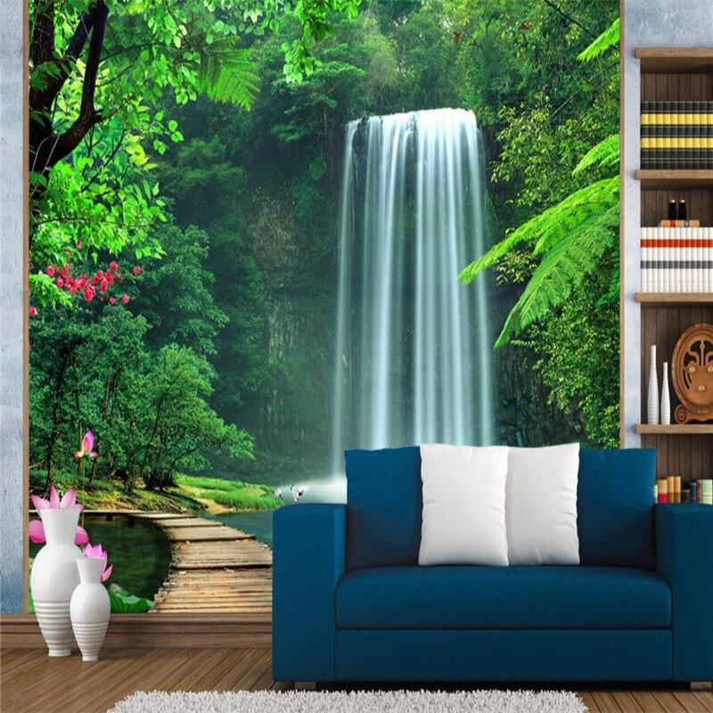 Купить с кэшбэком beibehang Custom photo background wallpaper landscape waterfall background wall mural 3D large mural wall paper papel de parede