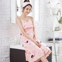 Cartoon Pink Strap Night Dress for Women Girls Backless Nighty Sleepshirts with Ruffles Sleepwear Nightgown Lady Leisure Wear