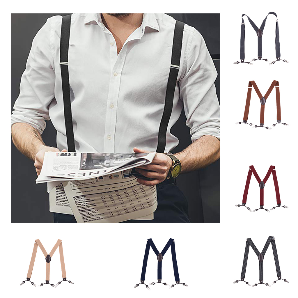 Men's Elastic Suspenders Adjustable Y-Back Braces 6 Clip-On Pants Durable Elastic Belts Straps Braces