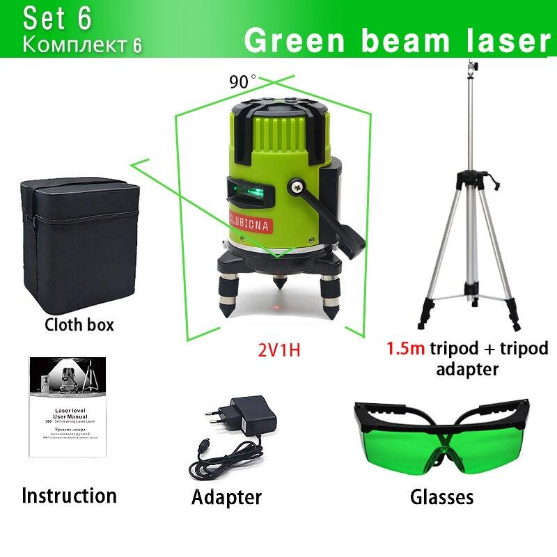 CLUBIONA зеленый и красный луч линии 360 градусов Поворотный наружный режим-приемник и наклон slash доступен автоматический линейный лазерный уровень - Цвет: M03GC and Tripod