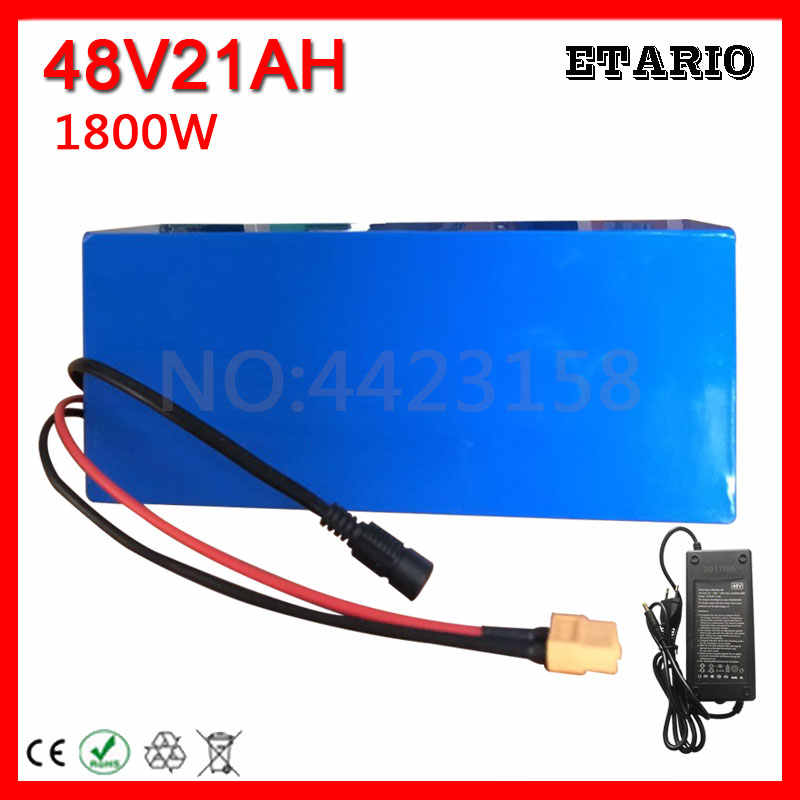 High Power 1800W 48V 20AH Electric Bike Battery 48V 20AH E-bike Battery 48 Volt Lithium Battery with 50A BMS 2A Charger Free Tax