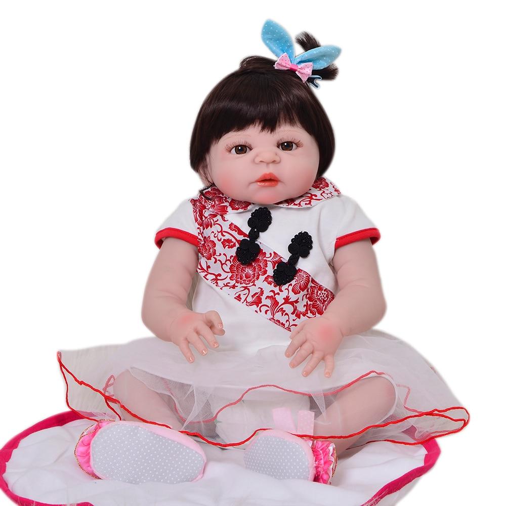 23 Realista Reborn Baby Doll 57 cm Princess Full Silicone Vinyl Babies Toys Boneca Reborn For Fashion Girl Playmates Gifts keiumi 57 cm reborn baby doll toys full body silicone vinyl 23 reborn boneca lovely princess babies girl toys birthday gifts