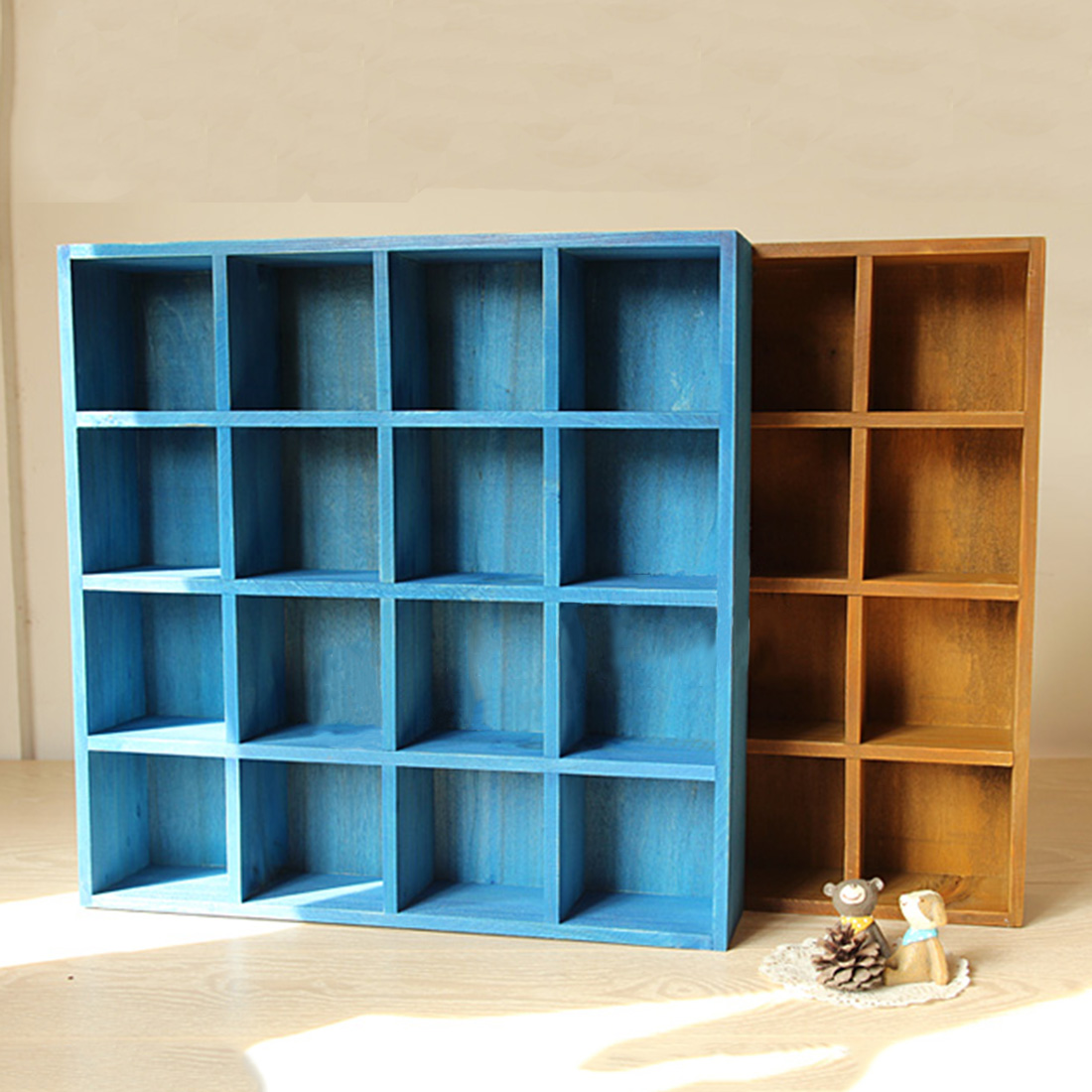 HIPSTEEN Vintage Pine Wood 16 Cubby 4 Layer Tray Storage Cabinet ...