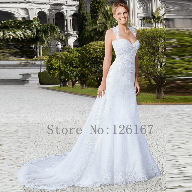Tank A Line Lace Long White Wedding Dresses Sleeveless Liqued Pleated Gowns Garden Style