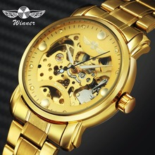 WINNER Official Royal Dress Automatic Watch Men Mechanical Gold Stainless Steel Strap Skeleton Mens Watches Top Brand Luxury цена в Москве и Питере