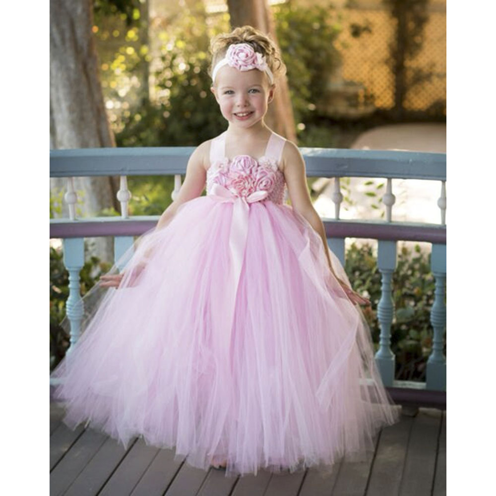 Blush Pink Flower Girl Dress With Flower Headband Princess Girls