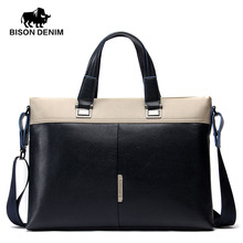 BISON DENIM fashion men bag luxury brand handbag shoulder bags genuine leather business men briefcase laptop bag