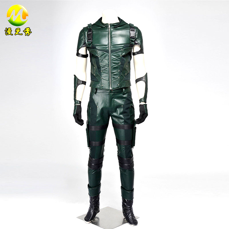 Green Arrow Season 4 Oliver Queen Full Set Clothing Halloween Cosplay Costume