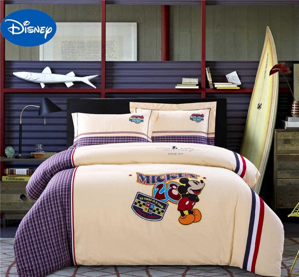 Mickey Mouse couette ensemble de literie garçons couvre-lit Disney dessin animé Applique broderie coton simple double reine Beige violet Plaid