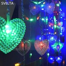 SVELTA 5CM СИД Сердце занавески Струнные огни 4M 104Bulbs Гирлянды Рождественские огни для феи Xmas Свадебные украшения для отдыха в помещении
