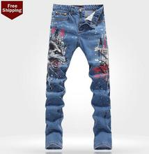 Бесплатная доставка! Осень подростковые печатных мужские джинсы джинсовые брюки мода персонализированные люксовый бренд свободного покроя эластичные брюки