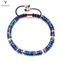 Fashion Handmade Natural Blue Wheel Beads Braided Adjustable Bracelet Customized Wheel Beads Macrame Bracelet Best Men Gift