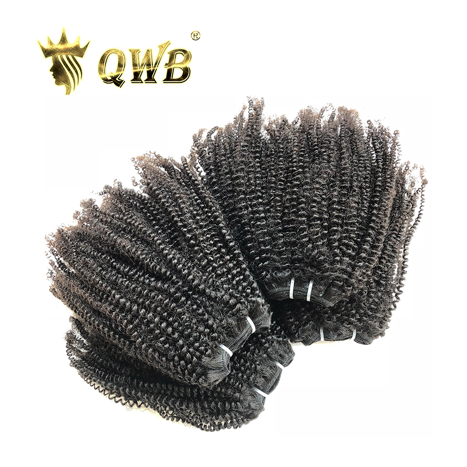 QWB Coily Curly Free shipping 4Bundle Lots 14 22 Queen Weave Beauty Brazilian Virgin Nature Color