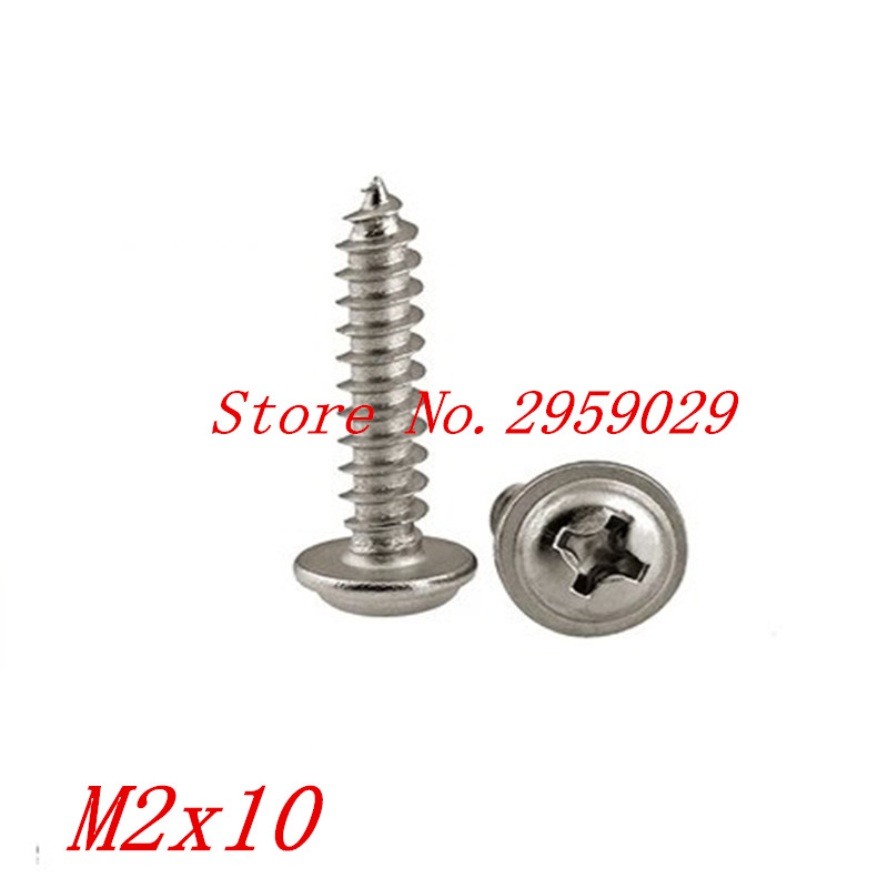 100pcs <font><b>M2</b></font>*10 <font><b>2mm</b></font> 304 Stainless Steel Phillips Pan Washer Head Self Tapping Screw image