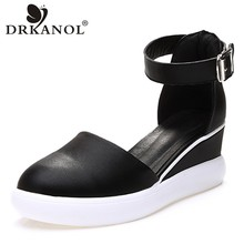 DRKANOL New Women Wedge Platform Sandals Black White Gladiator High Heels Summer Ladies Casual Shoes