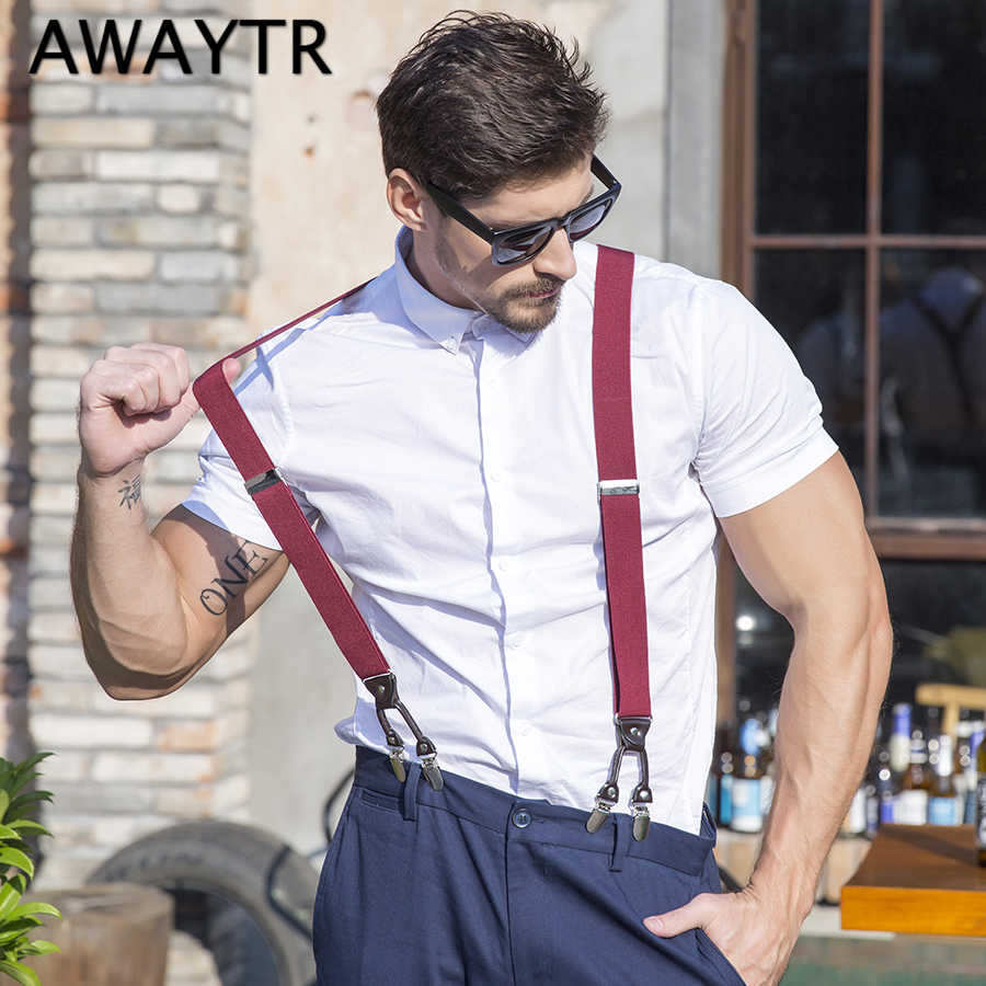 3.5 cm Width AWAYTR Men Suspenders for Wine Red Dot Braces for Women Fashion Hot Sale Suspensorio 2018 New Years Gifts