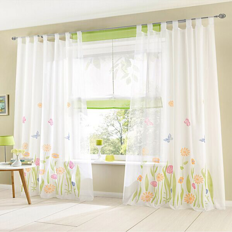 Organza Tulle Rustic Flower Curtain Valance Patterns Window Curtain Home  Decor 2 Pcs 150x 270cm Ready Made Living Room Curtains In Curtains From  Home ...