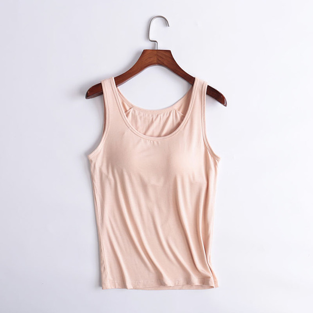 48d2bdc82f Women s Tank Tops modal Breathable Clothes Fitness Sexy summer Vest Strap  Built In Bra Padded Bra Modal Tank Top Camisole