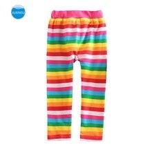 JUXINSU Toddler Cotton Girls Long Pants Leggings Rainbow Striped Casual for Spring Summer 1-8 Years