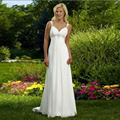 Beautiful White Simple Cheap Beach Wedding Dresses Straps Beaded Veatidos De Novia Princesa 2016 Wonderful Bohemian Bride Dress