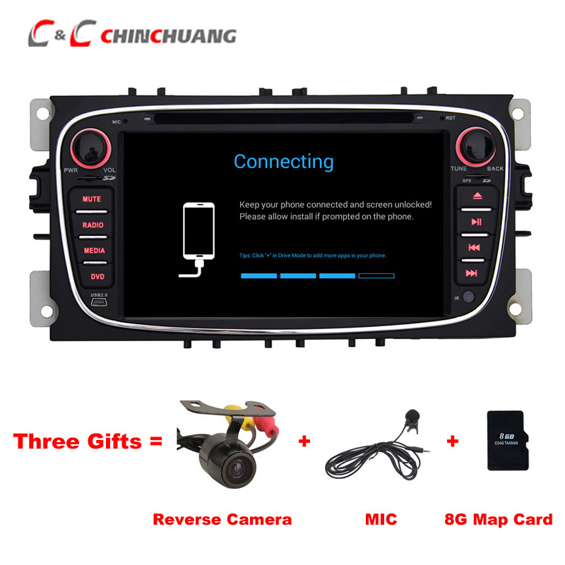 Free Mic and Camera ! Car Radio Player for Ford Focus Kuga Mondeo S max Transit Galaxy GPS Navi WiFi DVR BT, Support OBD DAB+